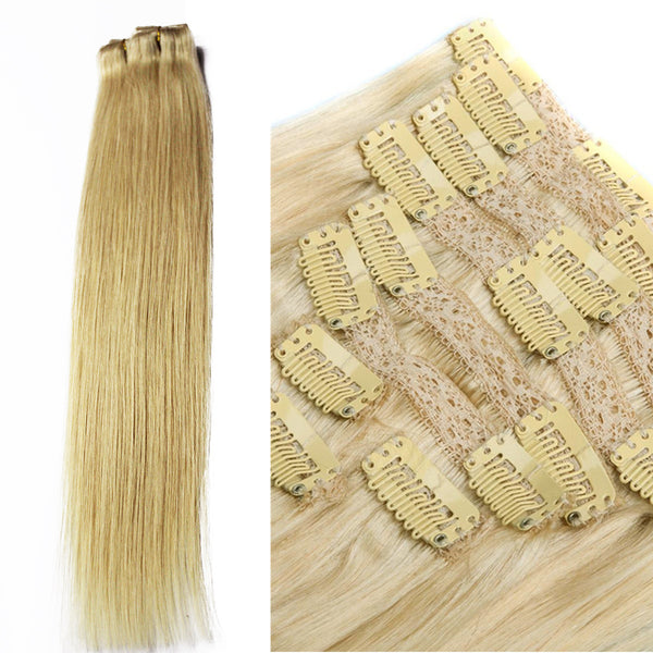 "18"" Clip In Remy Hair Extensions: Monroe Blonde No. 613 - Celebrity Strands  - 5"
