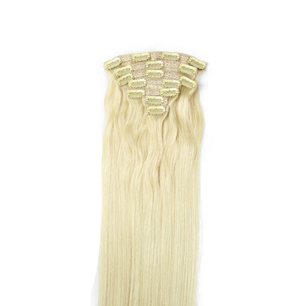 "16"" Clip In Remy Hair Extensions: Monroe Blonde No. 613 - Celebrity Strands  - 6"