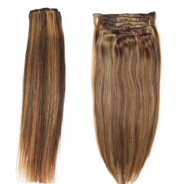 "16"" Clip In Remy Hair Extensions: Chestnut Brown/ Blonde No. P6-27 - Celebrity Strands  - 4"
