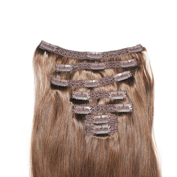 "16"" Clip In Remy Hair Extensions: Chestnut Brown No. 6 - Celebrity Strands  - 4"