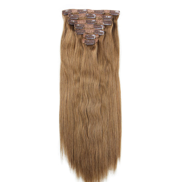 "18"" Clip In Remy Hair Extensions: Light Brown No. 8 - Celebrity Strands  - 3"