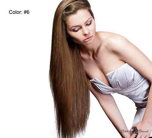 "24"" Clip In Remy Hair Extensions: Chestnut Brown No. 6 - Celebrity Strands  - 2"
