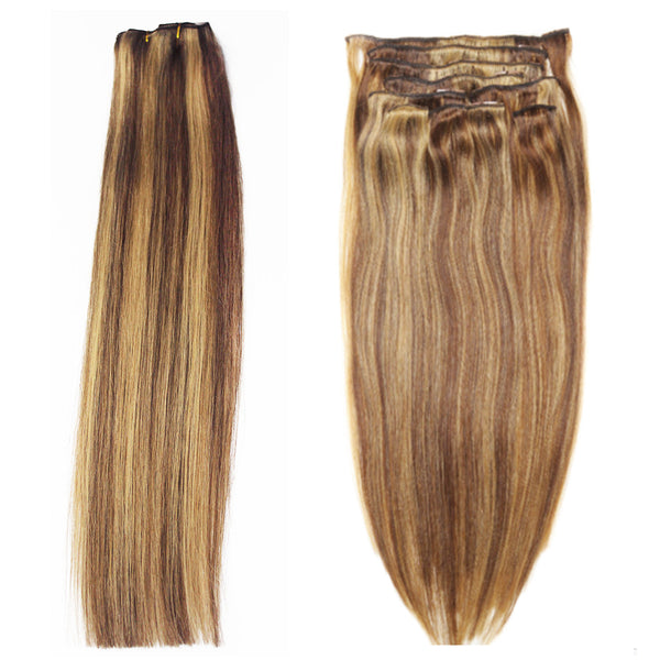 "16"" Clip In Remy Hair Extensions: Light Brown and Golden Blonde P8/24 - Celebrity Strands  - 4"