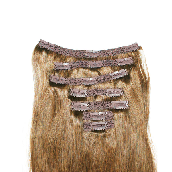 "18"" Clip In Remy Hair Extensions: Light Brown No. 8 - Celebrity Strands  - 4"
