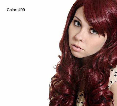 "21"" Clip In Remy Hair Extensions: Red No. 99 - Celebrity Strands  - 2"
