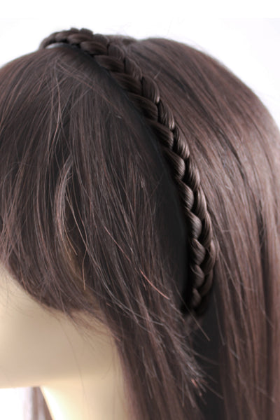 Braided Headband: Dark Brown - Celebrity Strands  - 3