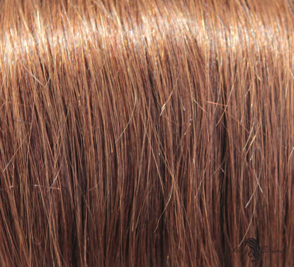 "21"" Clip In Remy Hair Extensions: Chestnut Brown No. 6 - Celebrity Strands  - 1"