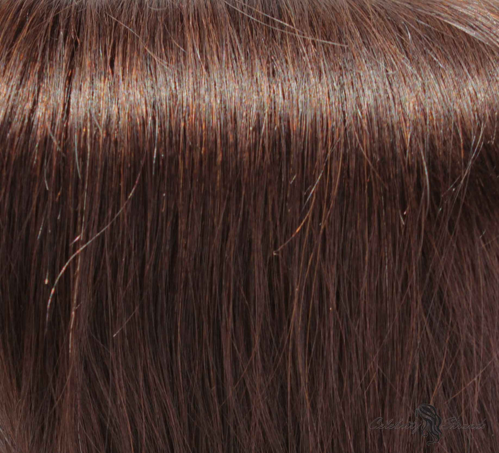 "16"" Clip In Remy Hair Extensions: Dark Brown No. 3 - Celebrity Strands  - 1"