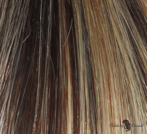 Dark Brown and Platinum Blonde Mix No. P4-613 Sample - Celebrity Strands