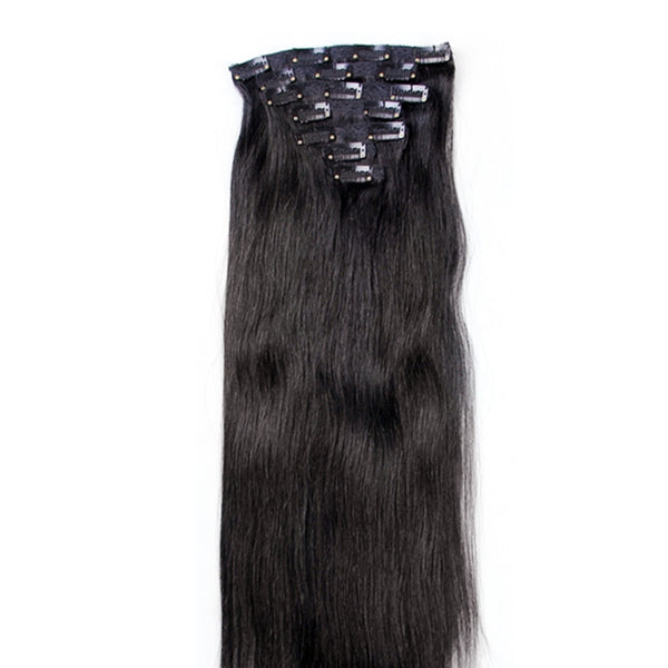 "21"" Clip In Remy Hair Extensions: Off Black No. 1B - Celebrity Strands  - 6"