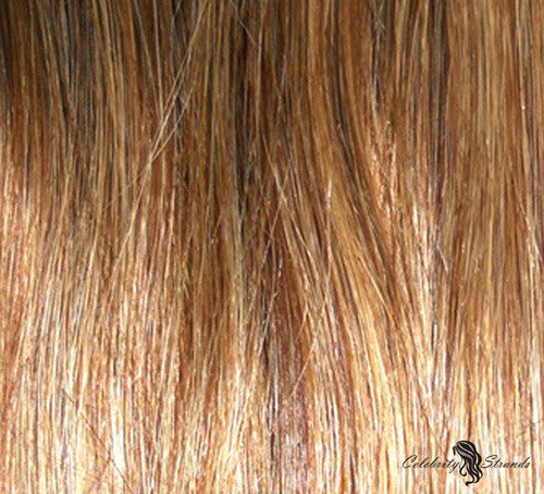 "16"" Clip In Remy Hair Extensions: Chestnut Brown/ Blonde No. P6-27 - Celebrity Strands  - 1"