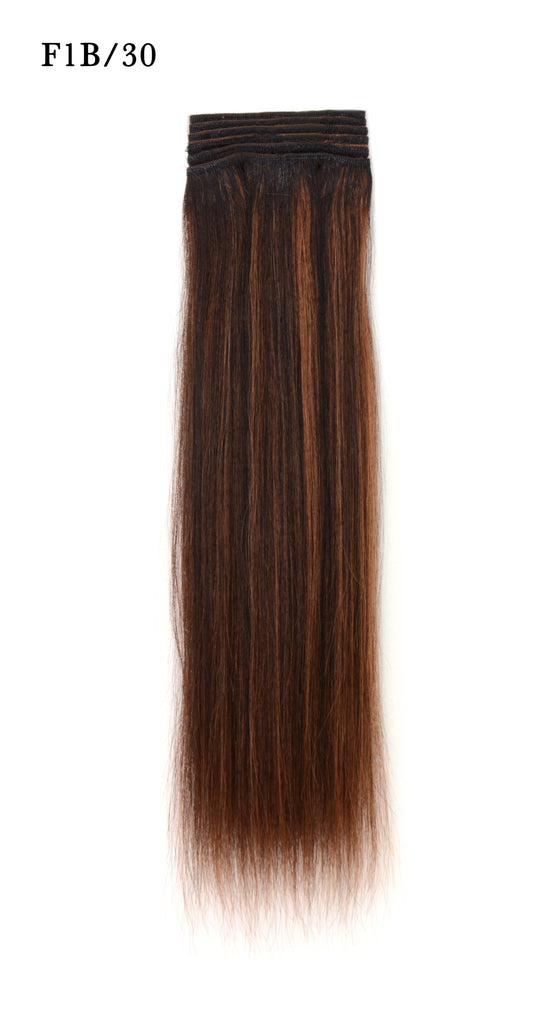 Weft Human Hair Extensions: Color #F1B/30 Off Black and Medium Auburn Mix