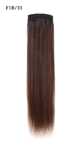 Weft Human Hair Extensions: Color #F1B/33 Off Black and Dark Auburn Mix