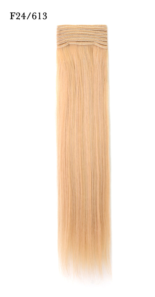 Weft Human Hair Extensions: Color #F24/613 Golden and Beach Blonde Mix