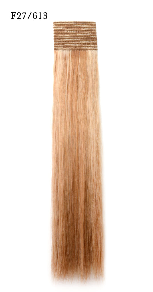 Weft Human Hair Extensions: Color #F27/613 Honey and Beach Blonde Mix