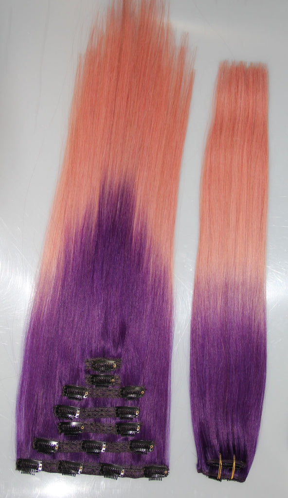 Purplepink 2 Toned 21 Clip In 100 Human Hair Extensions