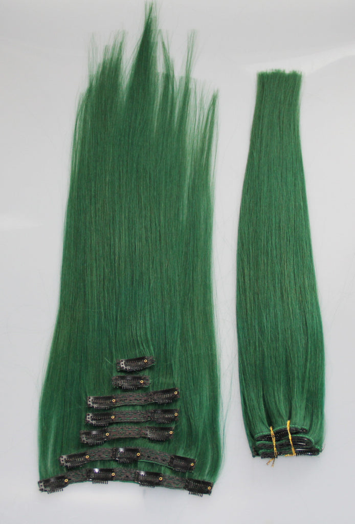 Emerald Green 21 Clip In 100 Human Hair Extensions Celebrity
