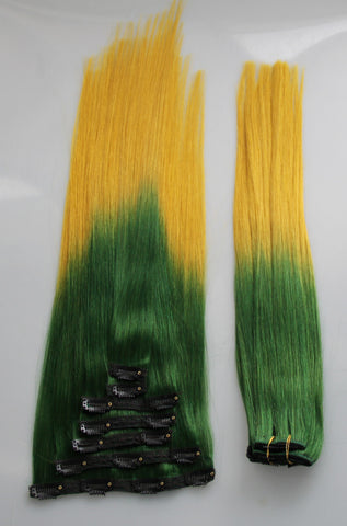 "Green/Gold (2-Toned):  21"" Clip In Hair Extensions - Celebrity Strands  - 3"