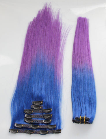 "Blue/Purple (2-Toned):  21"" Clip In Hair Extensions - Celebrity Strands  - 3"