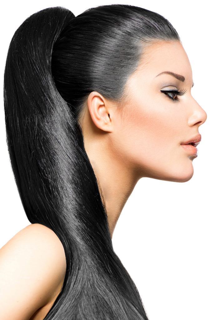 "16"" Clip In Hair Extensions: No 1 Jet Black - Celebrity Strands  - 1"