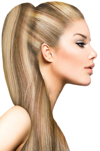 "18"" Clip In Hair Extensions: No P8-24 Light Brown/ Golden Blonde - Celebrity Strands  - 1"