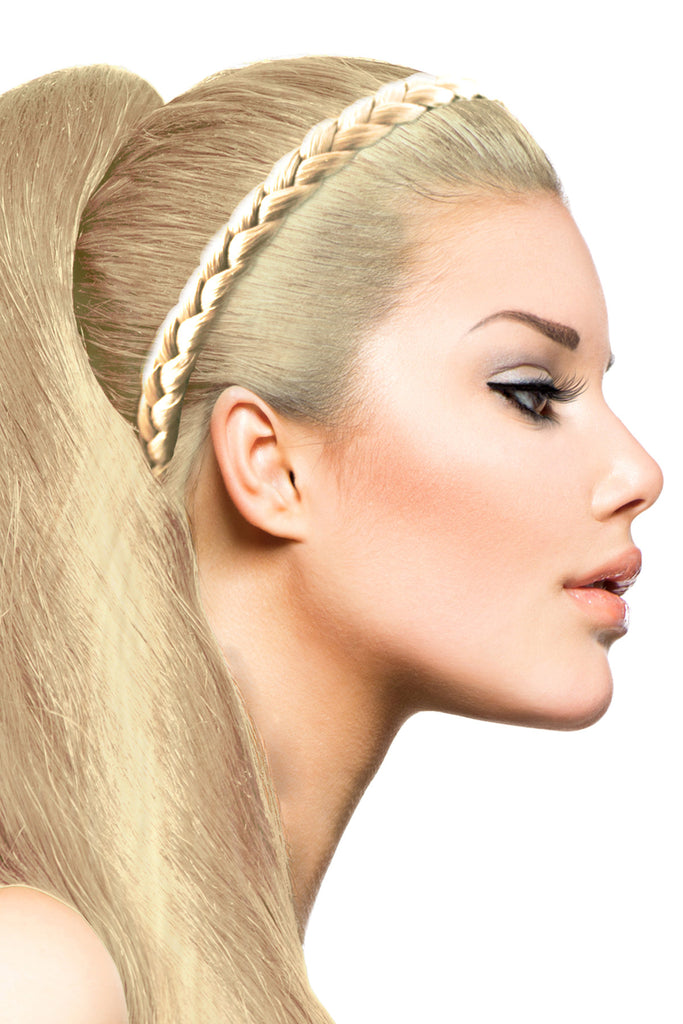 Braided Headband: Platinum Blonde - Celebrity Strands  - 1