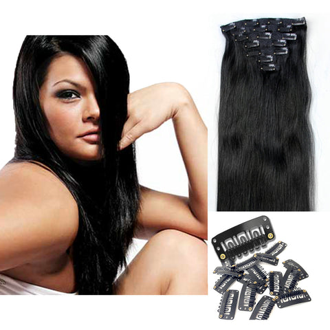 "16"" Clip In Remy Hair Extensions: Jet Black No. 1 - Celebrity Strands  - 2"