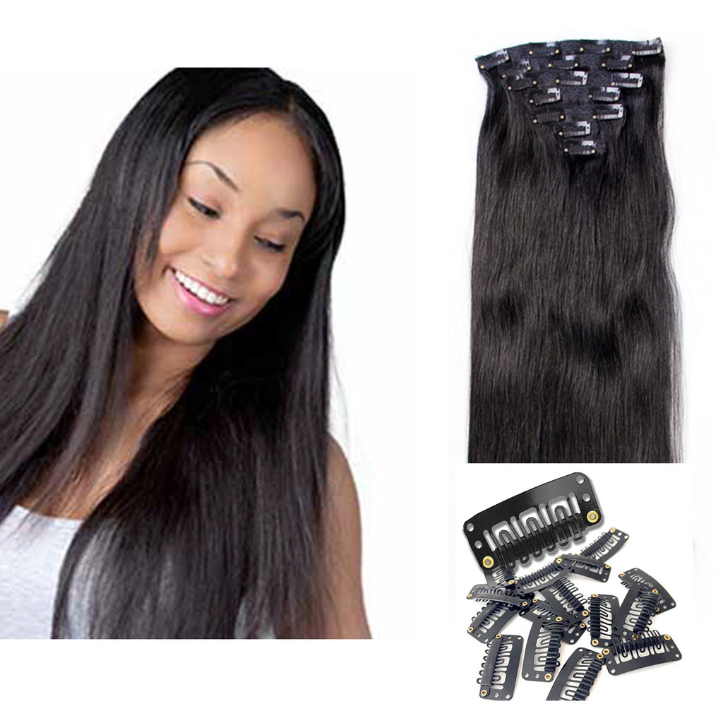 Off Black 21 Clip In Hair Extensions 1b 100 Remy Human Hair