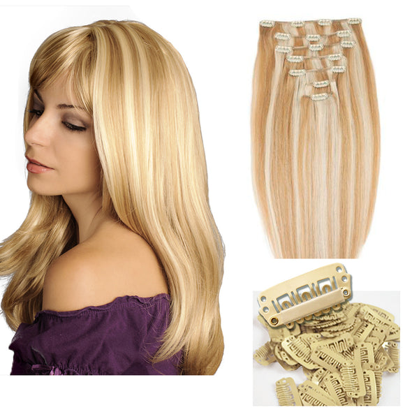 "18"" Clip In Remy Hair Extensions: Blonde/ Monroe Blonde No. P27-613 - Celebrity Strands  - 7"