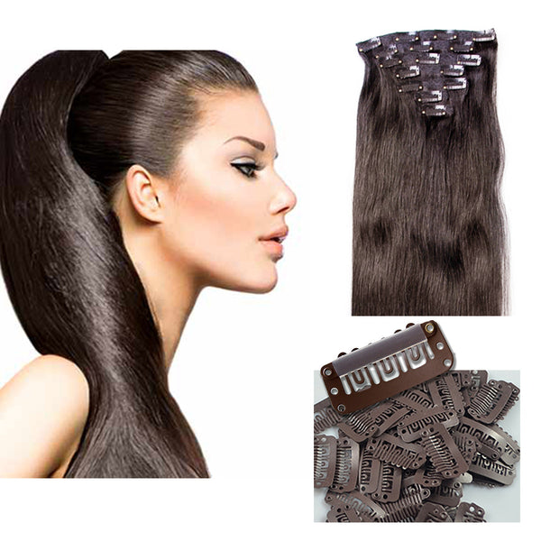 "21"" Clip In Remy Hair Extensions: Darkest Brown No. 2 - Celebrity Strands  - 2"