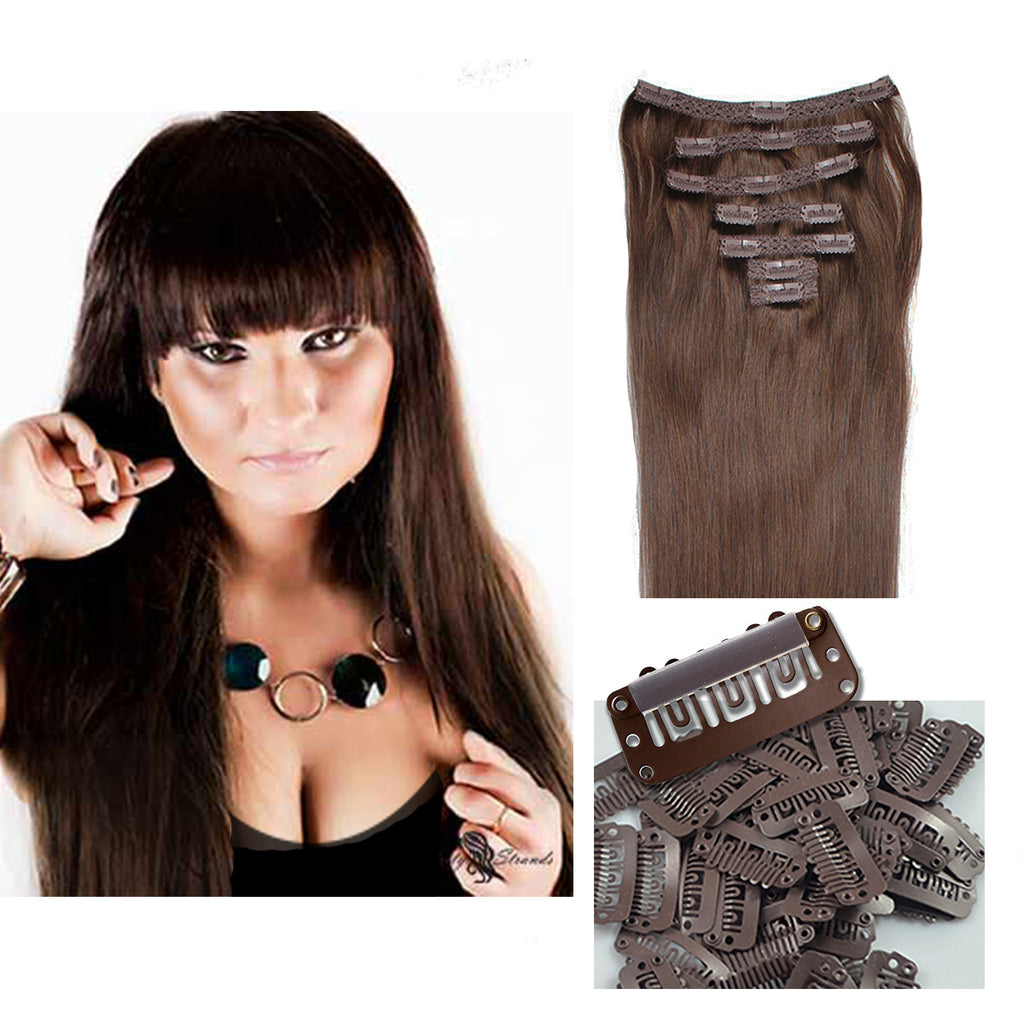 21 inch 100 remy human hair clip on celebrity strands color 3 21 clip in remy hair extensions dark brown no pmusecretfo Choice Image