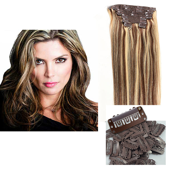"18"" Clip In Remy Hair Extensions: Dark Brown/ Monroe Blonde No. P4-613 - Celebrity Strands  - 5"