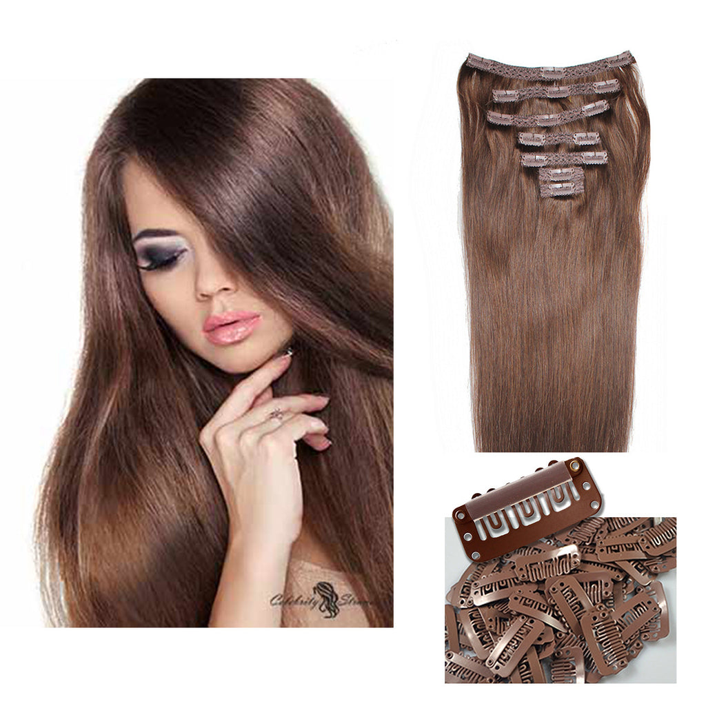Color 4 Medium Brown Clip On Hair Extensions 100 Remy Human
