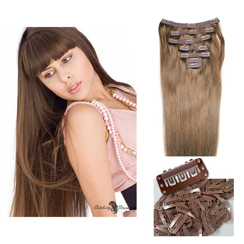 "18"" Clip On Human Hair Extensions: Light Ash Brown No. 5 - Celebrity Strands  - 2"