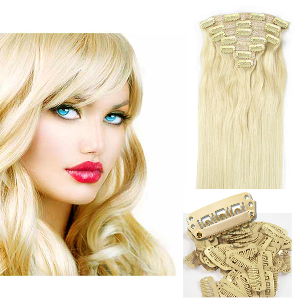 Clip On Hair Extensions 16 Inch Platinum Blonde 613 Celebrity