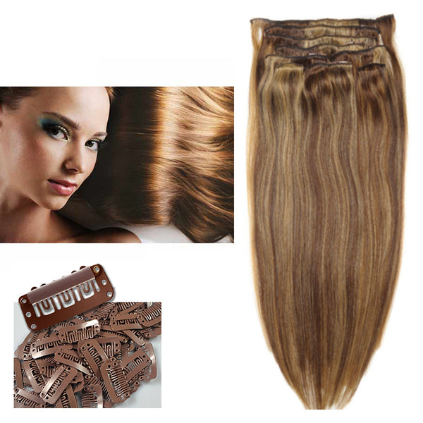 "18"" Clip In Remy Hair Extensions: Chestnut Brown/ Blonde No. P6-27 - Celebrity Strands  - 6"