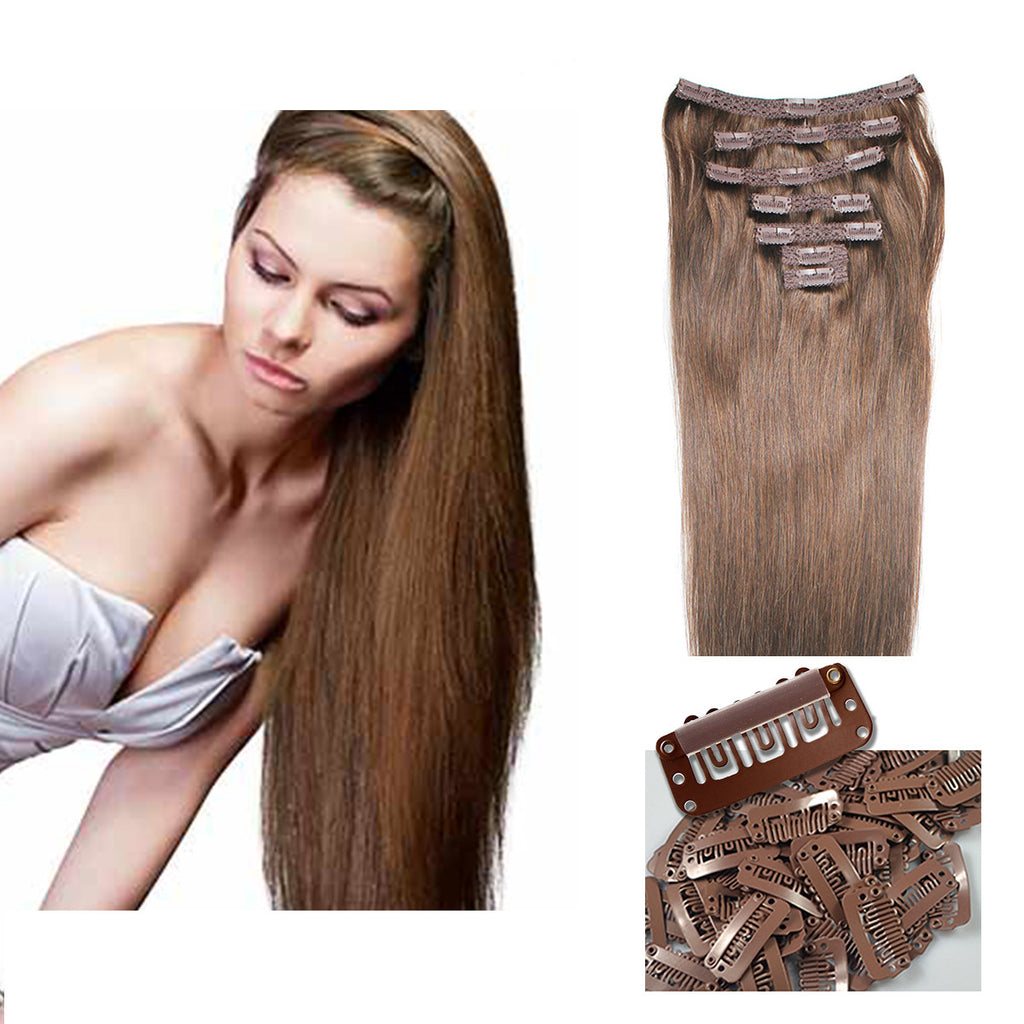 21 Inch Clip On Human Hair Extensions Chestnut Brown Color 6 100