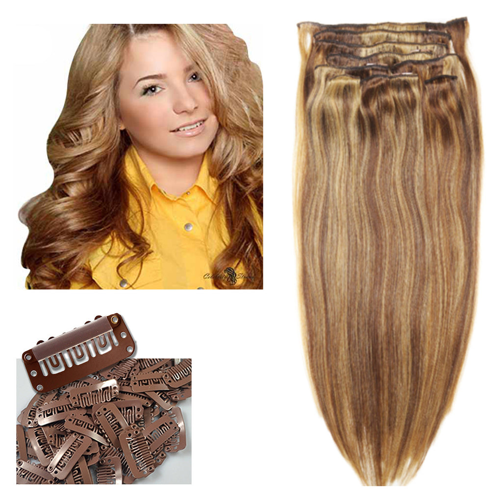 21 clip in human hair extensions celebrity strands color p824 p8 21 clip in remy hair extensions light brown golden blonde no pmusecretfo Image collections