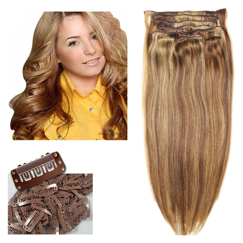 "21"" Clip In Remy Hair Extensions: Light Brown/ Golden Blonde No. P8-24 - Celebrity Strands  - 2"
