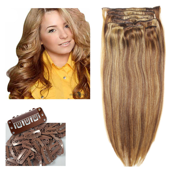 "16"" Clip In Remy Hair Extensions: Light Brown and Golden Blonde P8/24 - Celebrity Strands  - 2"