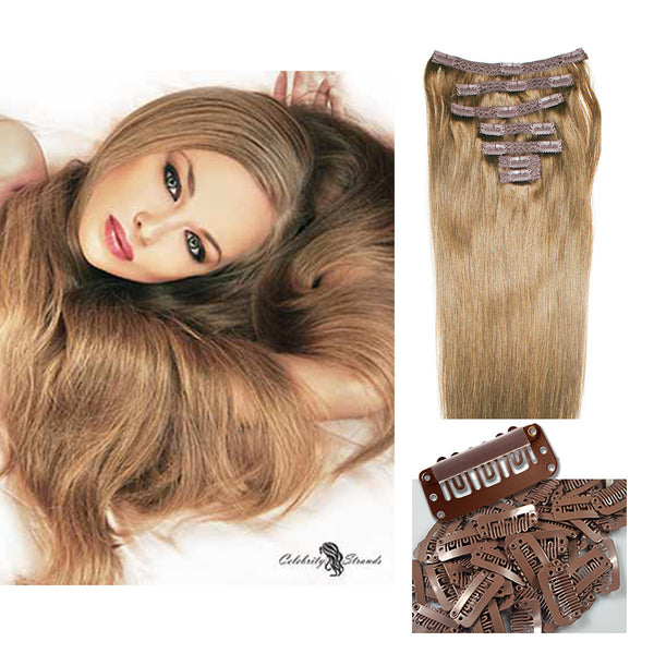 "18"" Clip In Remy Hair Extensions: Light Brown No. 8 - Celebrity Strands  - 5"