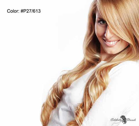 "18"" Clip In Remy Hair Extensions: Blonde/ Monroe Blonde No. P27-613 - Celebrity Strands  - 2"