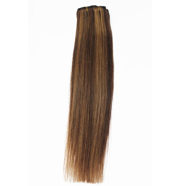 "21"" Clip In Remy Hair Extensions: Chestnut Brown/ Blonde No. P6-27 - Celebrity Strands  - 6"