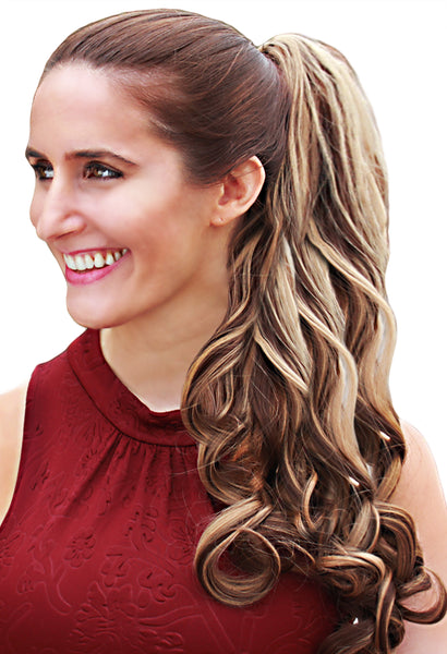 PonyTail Extensions: No F8-22 Dark Blonde with Light Blonde Highlights