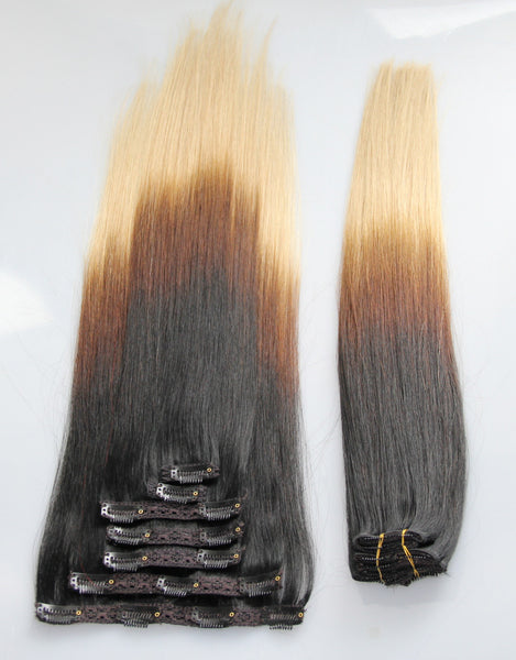 "Ombre (3-Toned):  21"" Clip In Hair Extensions - Celebrity Strands  - 3"