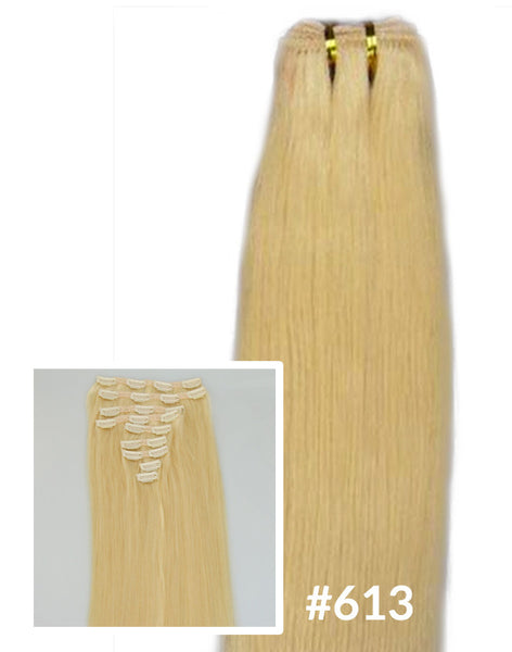 "24"" Clip In Remy Hair Extensions: Monroe Blonde No. 613 - Celebrity Strands  - 5"