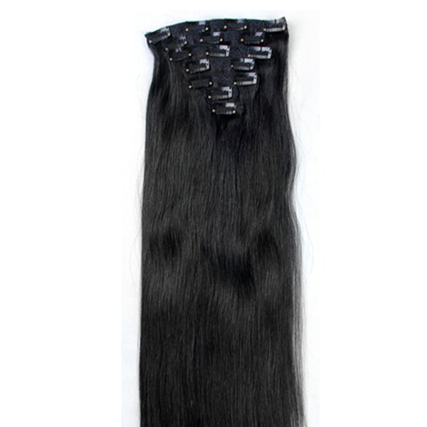 "16"" Clip In Remy Hair Extensions: Jet Black No. 1 - Celebrity Strands  - 6"