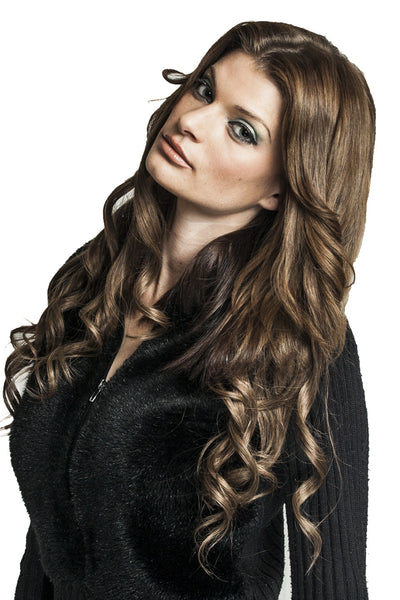 "21"" Clip In Remy Hair Extensions: Chestnut Brown No. 6 - Celebrity Strands  - 7"
