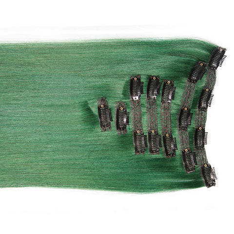 "Emerald Green:  21"" Clip In Hair Extensions - Celebrity Strands  - 1"