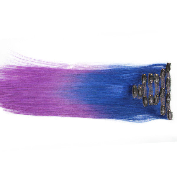 "Blue/Purple (2-Toned):  21"" Clip In Hair Extensions - Celebrity Strands  - 1"